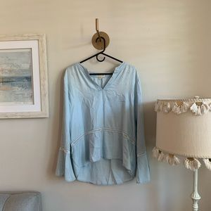 Anthropologie Light Blue Cloth + Stone Top Size L